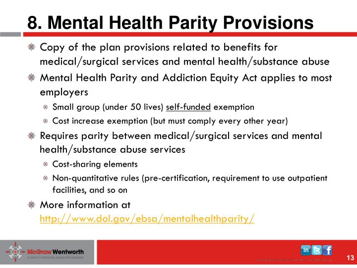8. Mental Health Parity Provisions