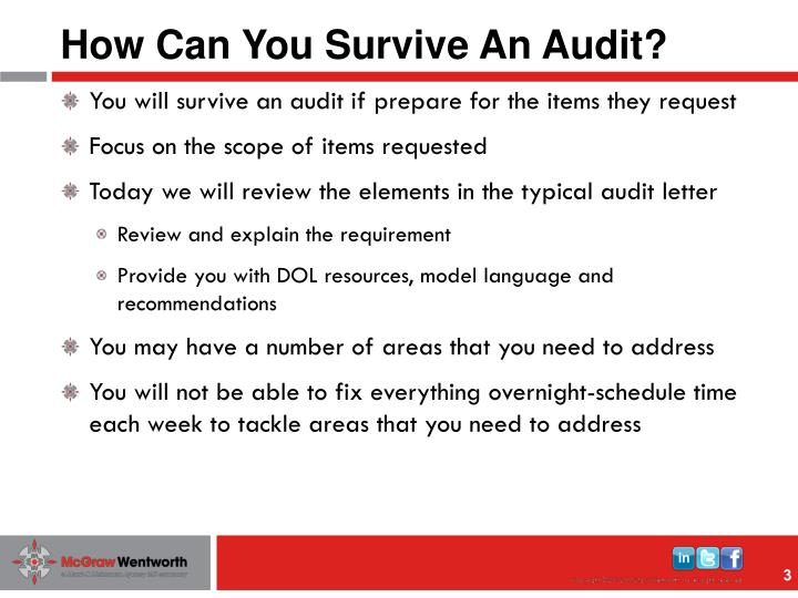 How can you survive an audit