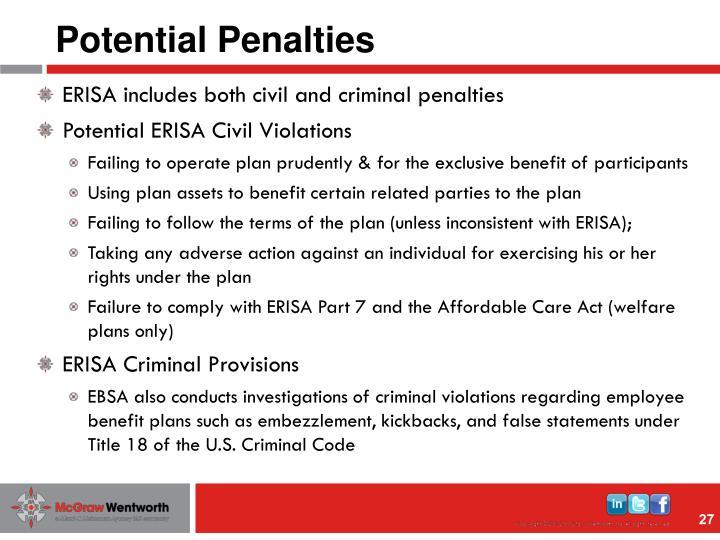 Potential Penalties