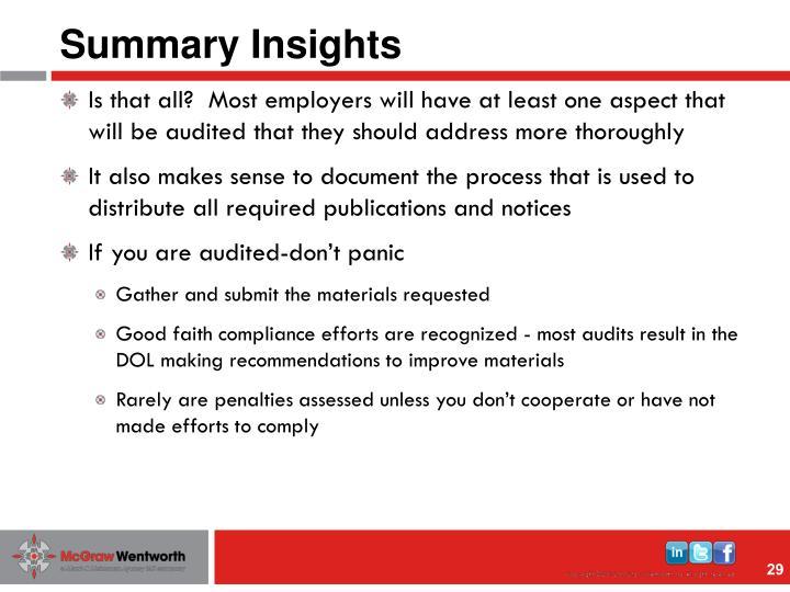 Summary Insights