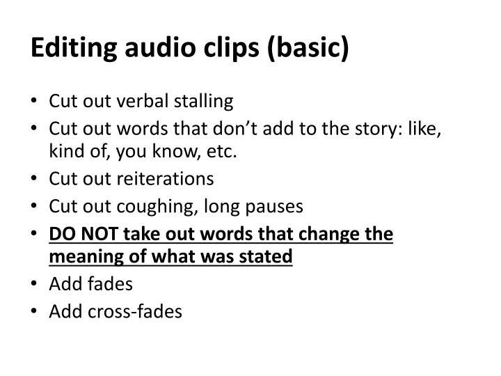 Editing audio clips (basic)