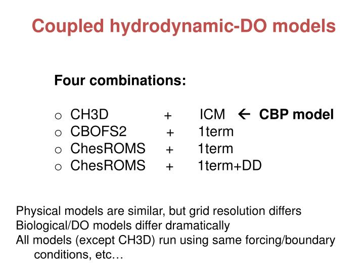 Coupled hydrodynamic-DO models