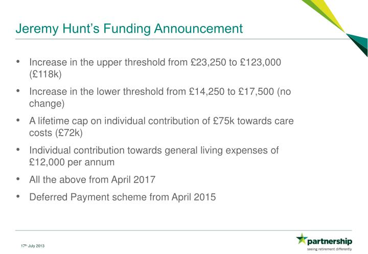 Jeremy Hunt's Funding Announcement