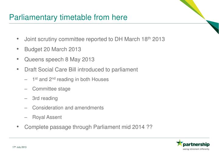 Parliamentary timetable from here