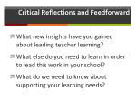 critical reflections and feedforward