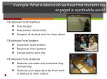 example what evidence do we have that students are engaged in worthwhile work