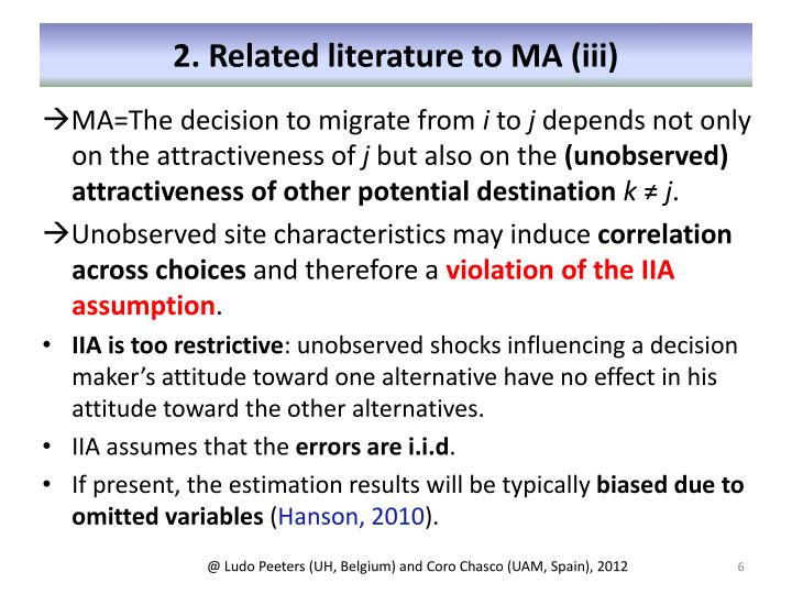 2. Related literature to MA (iii)
