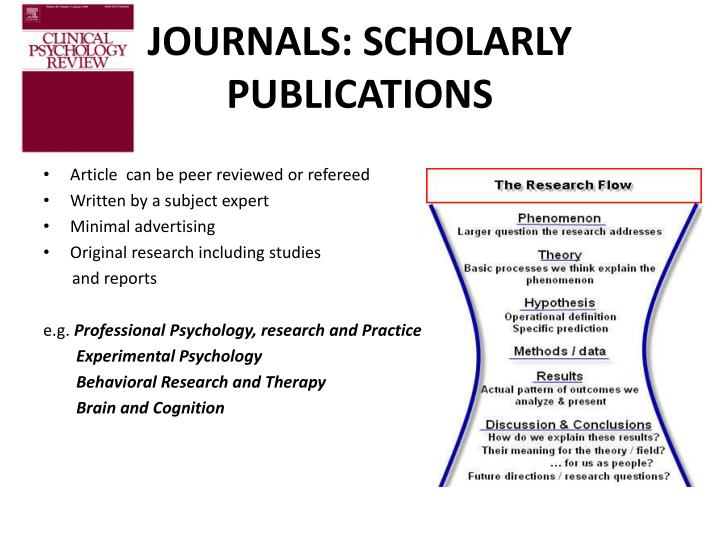 JOURNALS: SCHOLARLY PUBLICATIONS