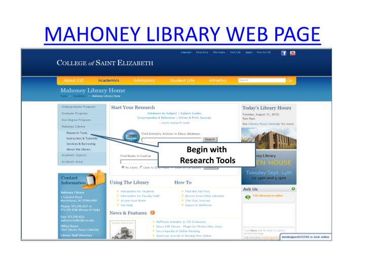 Mahoney library web page