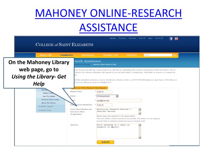 MAHONEY ONLINE-RESEARCH ASSISTANCE