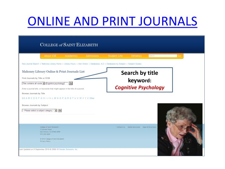 ONLINE AND PRINT JOURNALS
