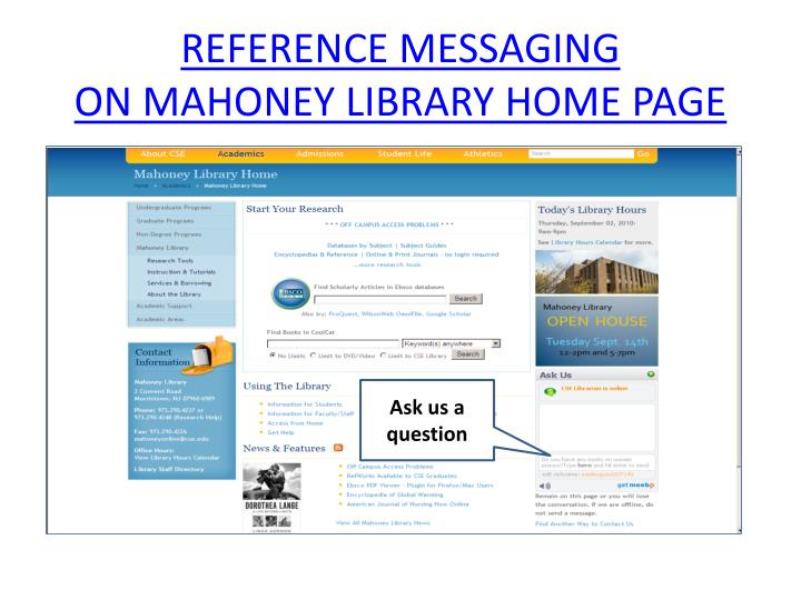 REFERENCE MESSAGING