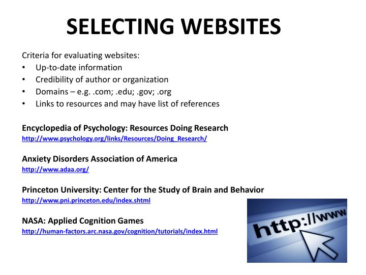 SELECTING WEBSITES