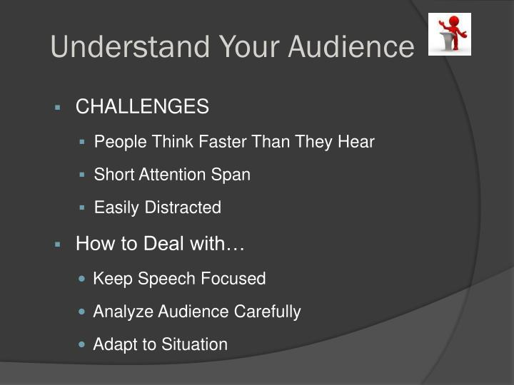 an introduction to the process of analyzing audience before a presentation Apply purpose, audience, tone, and content to a specific assignment  because the audience has shifted, your presentation and delivery will shift as well to create a new relationship with the new audience  keep in mind that as your topic shifts in the writing process, your audience may also shift.