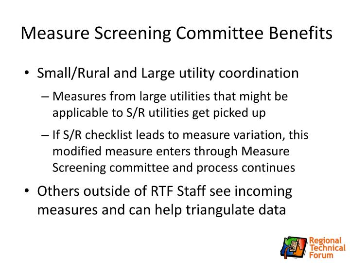 Measure Screening Committee Benefits