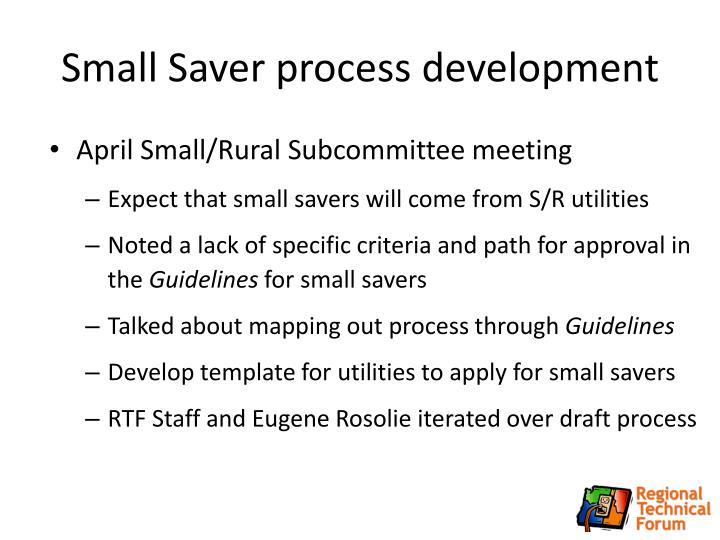 Small Saver process development