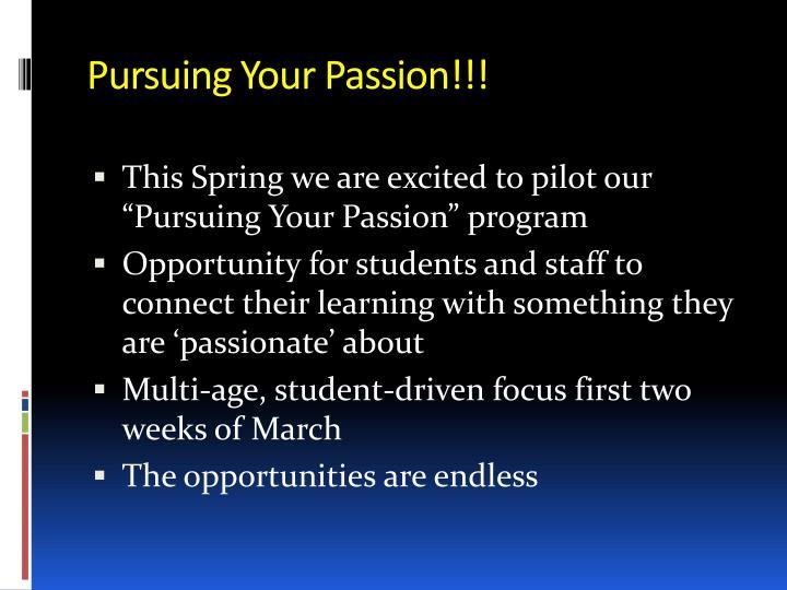 Pursuing Your Passion!!!