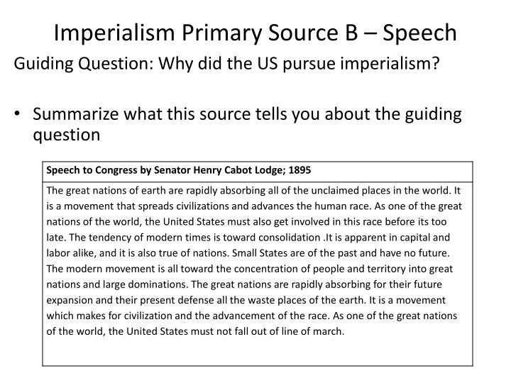 Imperialism Primary Source B – Speech