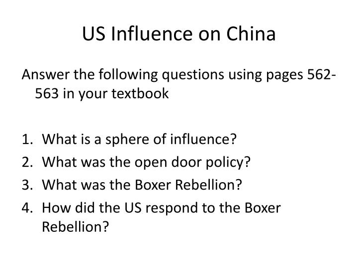 Us influence on china