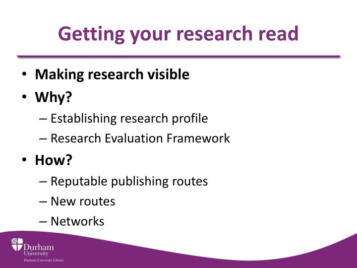Getting your research read