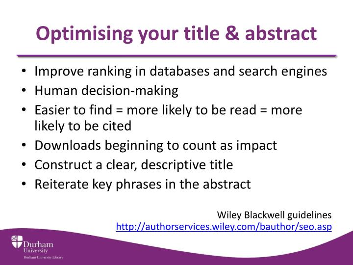 Optimising your title & abstract