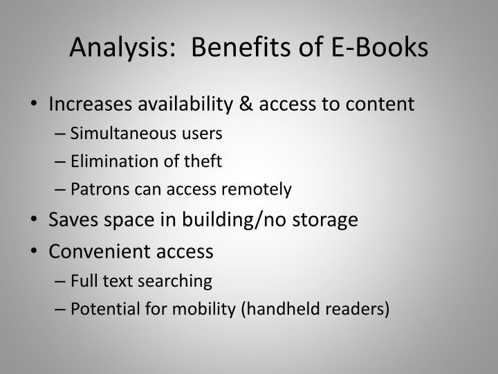 Analysis:  Benefits of E-Books