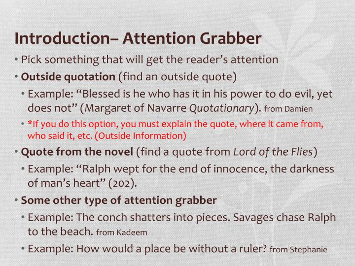 Introduction attention grabber