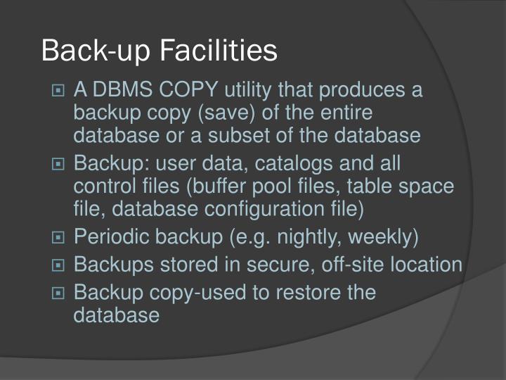 Back-up Facilities