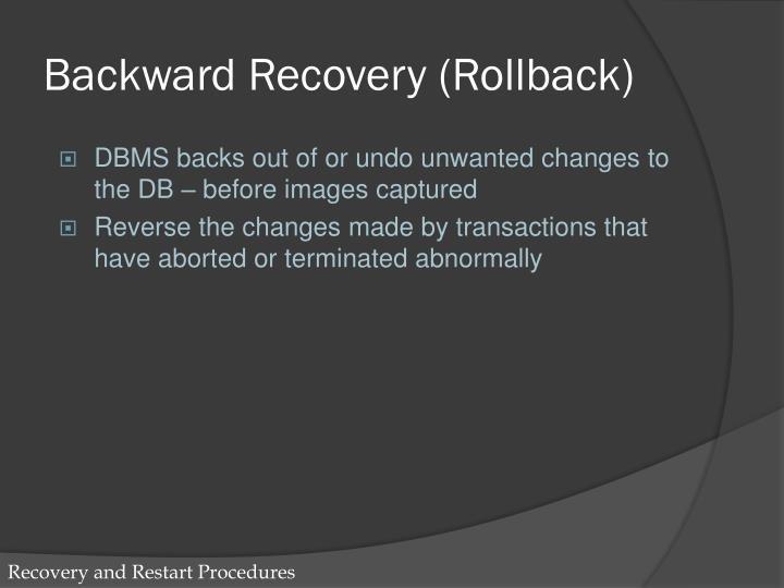 Backward Recovery (Rollback)