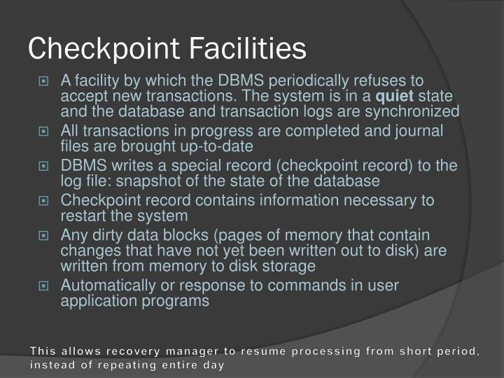 Checkpoint Facilities