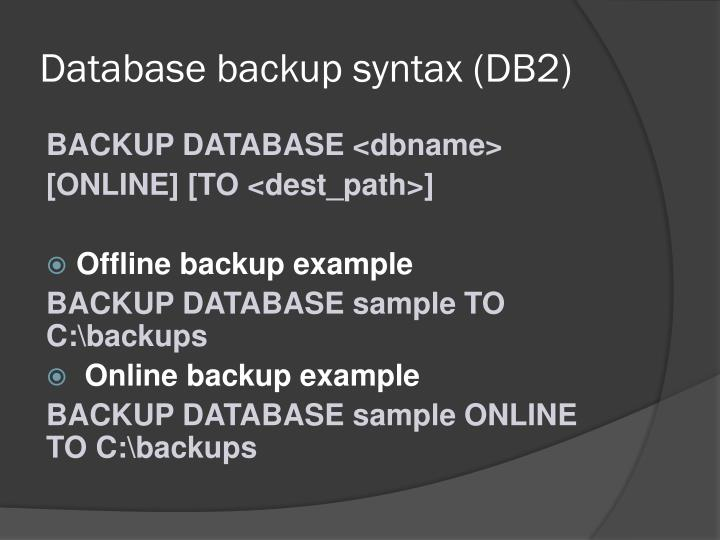 Database backup syntax (DB2)