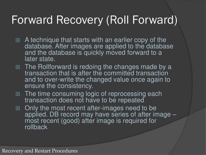 Forward Recovery (Roll Forward)