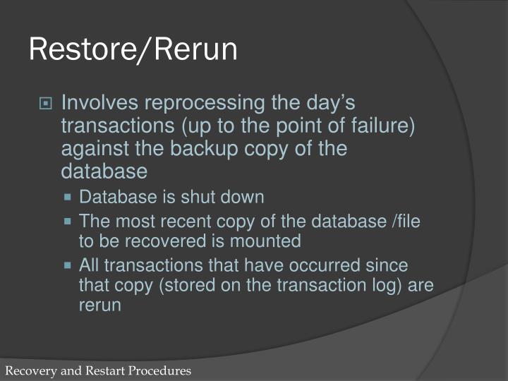 Restore/Rerun