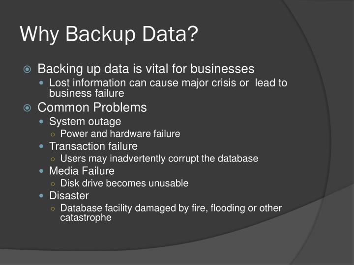 Why Backup Data?