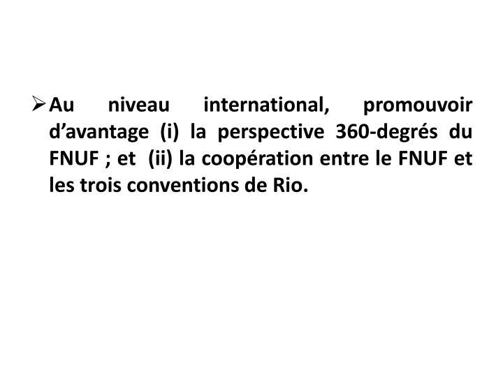 Au niveau international, promouvoir d'avantage (i) la perspective 360-degrés du FNUF; et  (ii) la coopération entre le FNUF et les trois conventions de Rio.