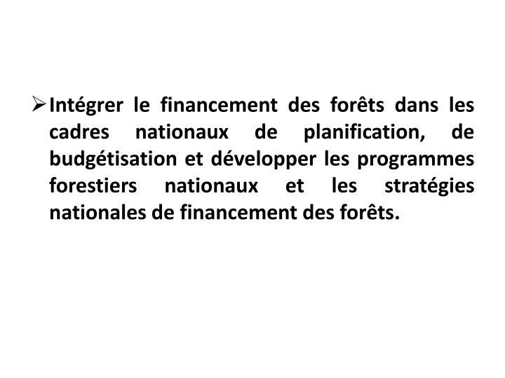 Intégrer le financement des forêts dans les cadres nationaux de planification, de