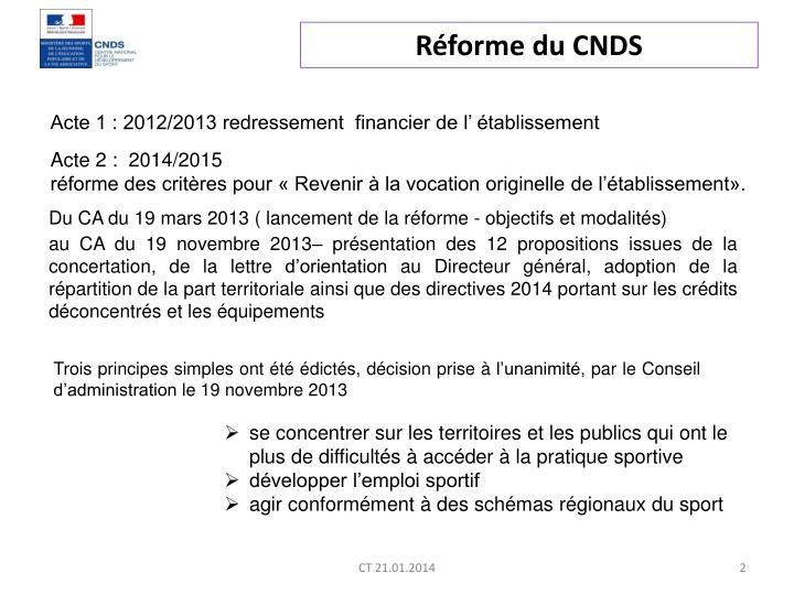 Réforme du CNDS