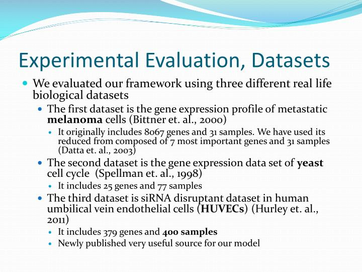 Experimental Evaluation, Datasets