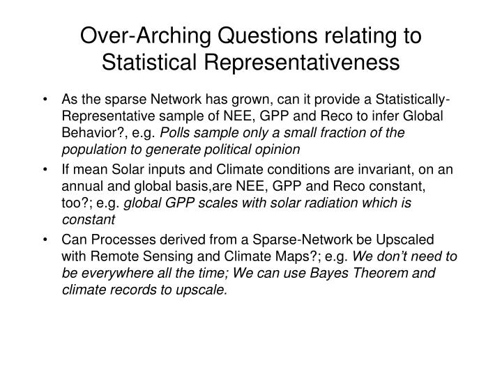 Over-Arching Questions relating to Statistical Representativeness