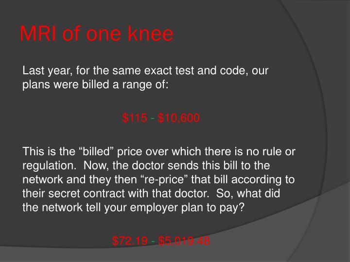 MRI of one knee