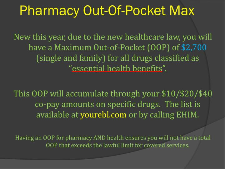 Pharmacy Out-Of-Pocket Max