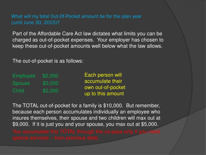 What will my total Out-Of-Pocket amount be for the plan year