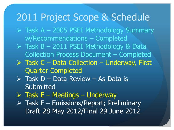 2011 Project Scope & Schedule