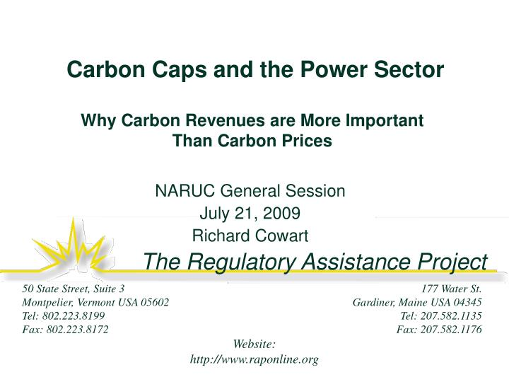 Carbon caps and the power sector why carbon revenues are more important than carbon prices