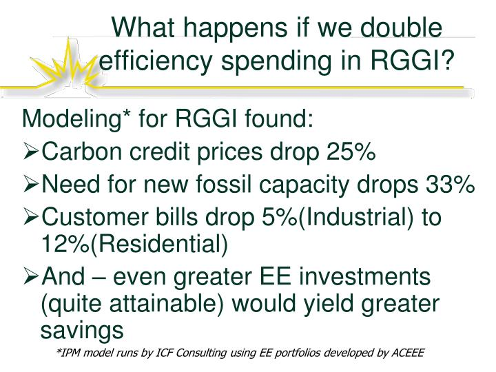What happens if we double efficiency spending in RGGI?