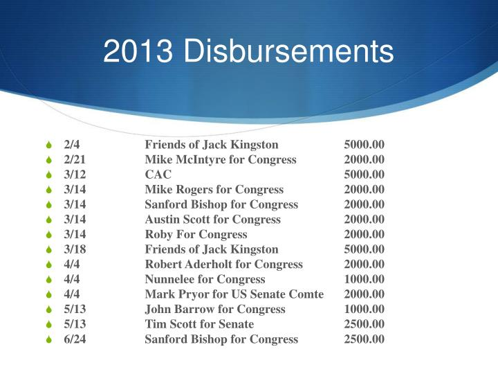 2013 Disbursements