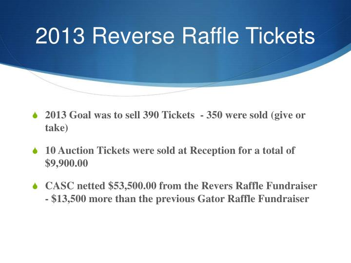 2013 Reverse Raffle Tickets
