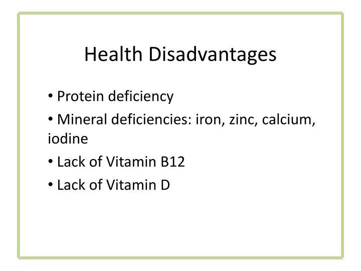 Health Disadvantages