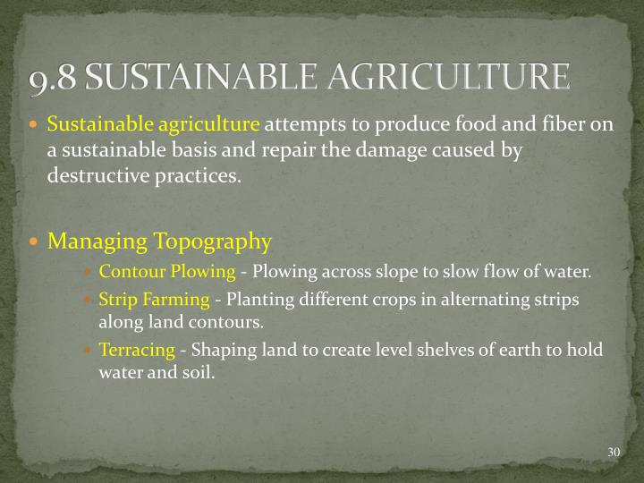 9.8 SUSTAINABLE AGRICULTURE