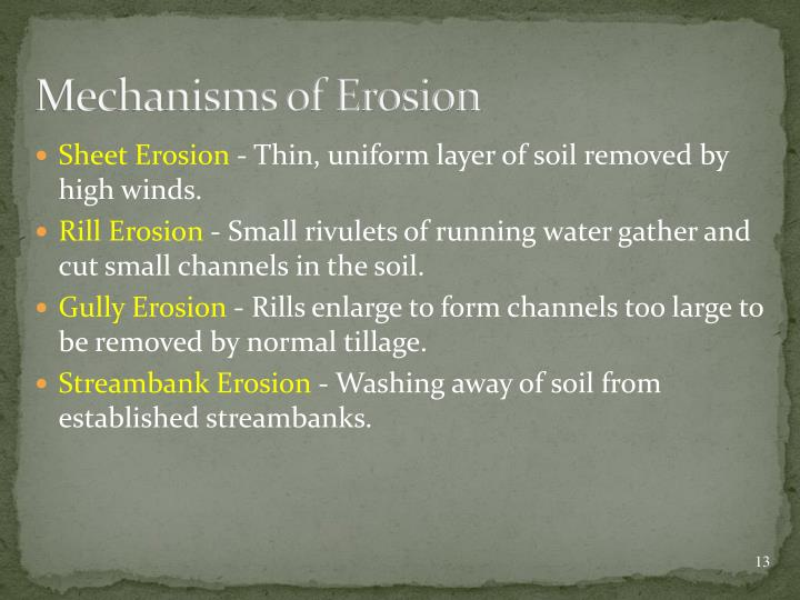 Mechanisms of Erosion